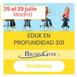 Imagen de Educa en profundidad 301 (niños haciendo movimientos) con fechas de julio y botón al programa del curso