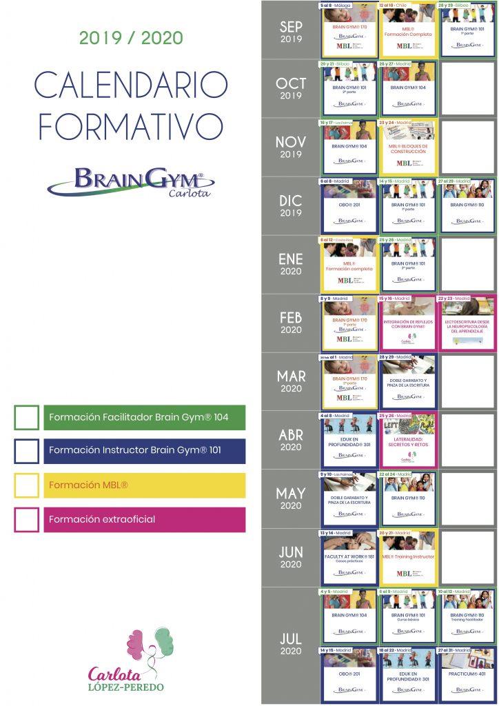 Calendario Brain Gym Carlota 19/20